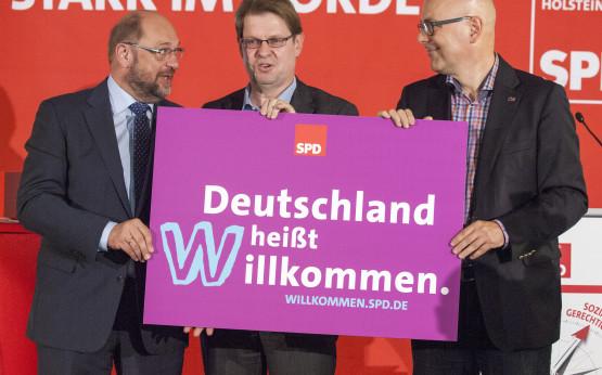 Martin Schulz, Ralf Stegner, Torsten Albig: Deutschland heißt Willkommen
